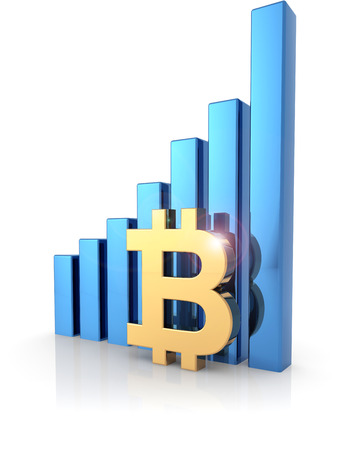 Golden bitcoin symbol and bar graph isolated on white, 3d illustration Stock fotó