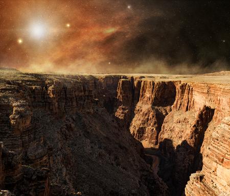 solar light on rocky cliff of red planet Stock fotó