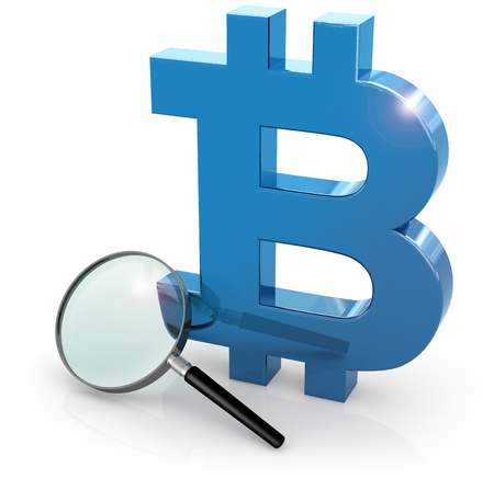 loupe and blue bitcoin symbol isolated on white, 3d illustration Stock fotó