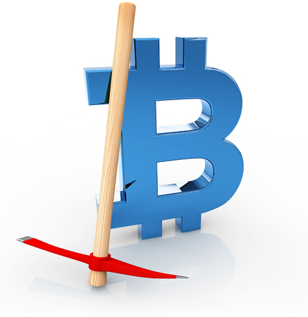 bitcoin sign and pickaxe isolated on white, 3d illustration