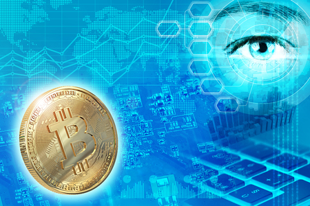 Digital money and cryptocurrency abstract concept, 3d illustration