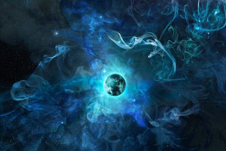 planet earth in a blue nebula, 3d illustration