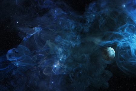 planet in blue cosmic plasma, 3d illustration