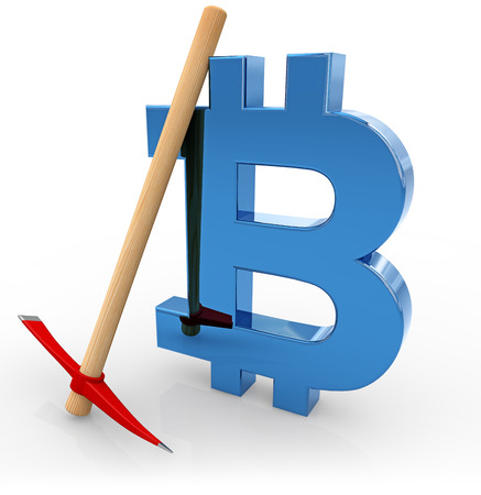 bitcoin symbol and pickaxe isolated on white, 3d illustration