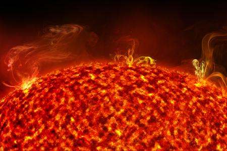 close up of solar flares on sun surface, 3d illustration Stock fotó