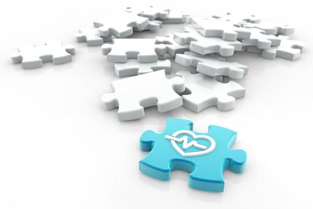 의료 퍼즐 조각 흰색 배경, 3d 일러스트에 흩어져 스톡 콘텐츠 - 96943539