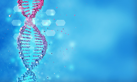 DNA double helix in a blue background, 3d illustration