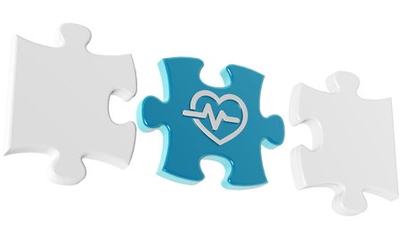 medical puzzle pieces isolated on white background, 3d illustration