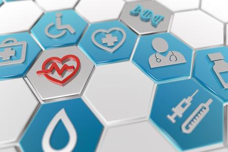 medical icons in hexagonal pattern, 3d illustration