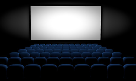 movie theater with blue seats and blank screen, 3d illustration