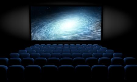 science fiction film in empty movie theater, 3d illustration Stock fotó