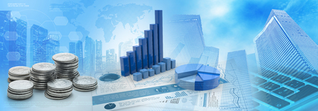 coins and charts in a blue cityscape background, 3d illustration Stock fotó