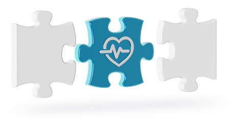 cardiology puzzle pieces on white background, 3d illustration Stock fotó