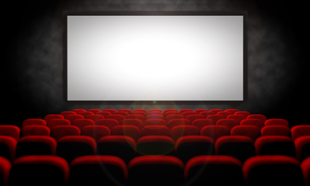 white screen and red seats in empty movie theater, 3d illustration