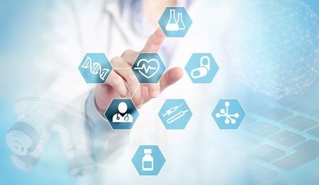 doctor finger touching medical and research blue icons  Stock fotó