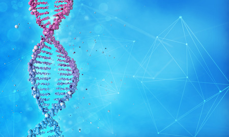 DNA helix and molecular structure in blue background