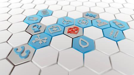 medical icons in white hexagonal pattern, 3d illustration