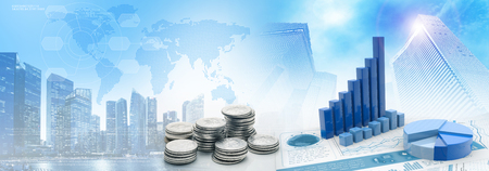 coins and charts in cityscape blue background, 3d illustration