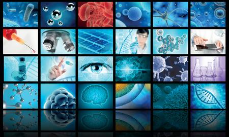 collage of biology and medical images, 3d illustration