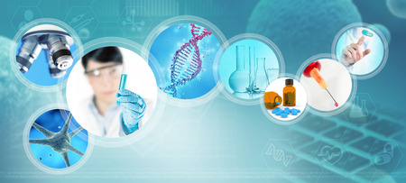 Scientific and pharmaceutical images on abstract blue background, 3d illustration