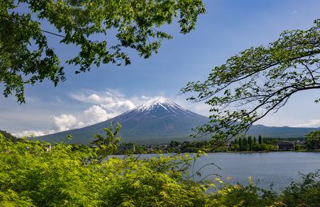 Mount Fuji and lake Kawaguchi framed by maple leaves Stock fotó
