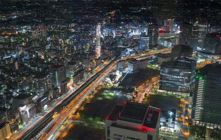 aerial view of Yokohama traffic lights at night