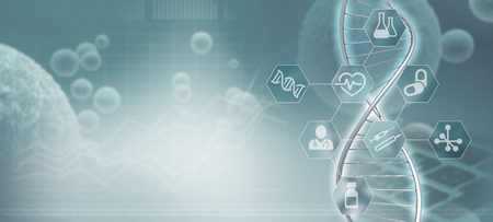 DNA helix strand and infographic in a blue-grey background, 3d illustration Stock fotó