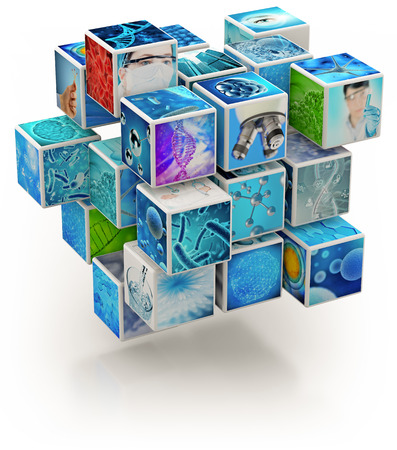 Biology research photo collage cube-shaped isolated on white, 3d illustration