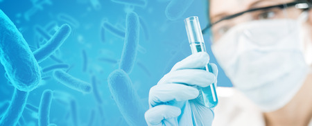 Scientist holding a test-tube, bacteria in the background, 3d illustration