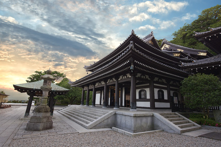 Old wooden building at sunset, Hase-dera temple