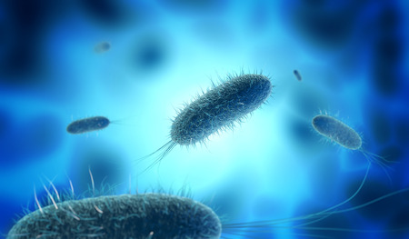 Close up of microscopic bacteria in blue background, 3d illustration