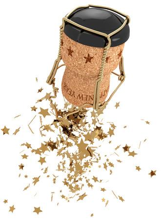 Champagne stopper and golden stars, 3d illustration