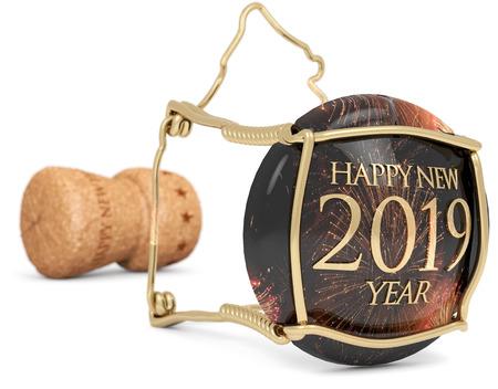 2019 celebration champagne stopper isolated on white, 3d illustration