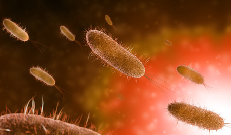 Close up of microscopic bacteria in orange background, 3d illustration