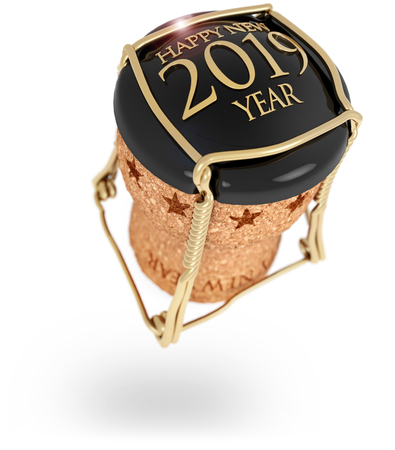 2019 New Years champagne stopper isolated on white, 3d illustration