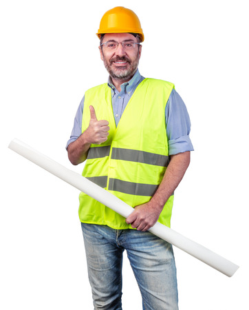 Construction industry worker making ok gesture isolated Stock fotó