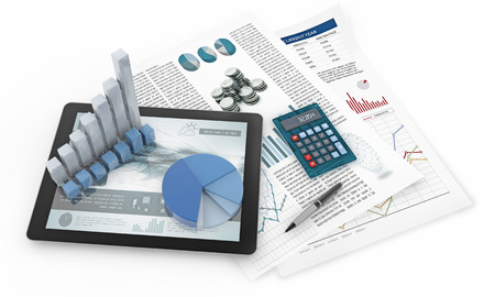 Charts, tablet and financial documents isolated