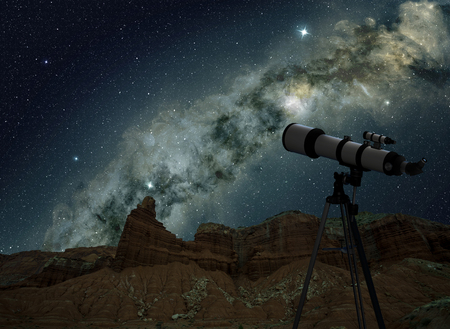 Telescope on tripod looking at the milky way in night sky