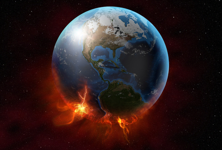Planet earth glowing in the space, 3d illustration Фото со стока