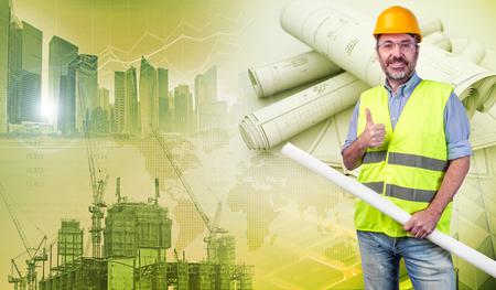 construction worker holding blueprints and gesturing ok Stock fotó
