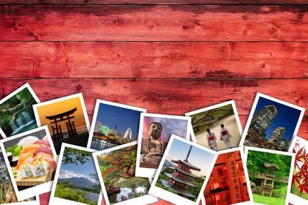 Japanese photo collage on red wooden Фото со стока