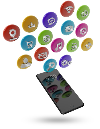 Mobile phone and app icons isolated on white