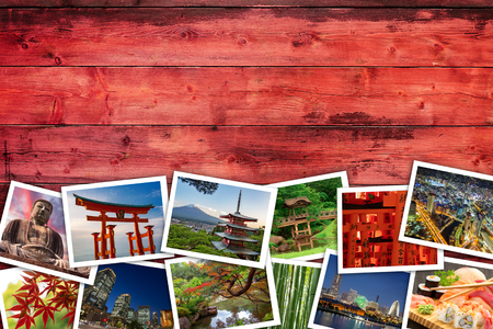 Japan pictures on red wooden