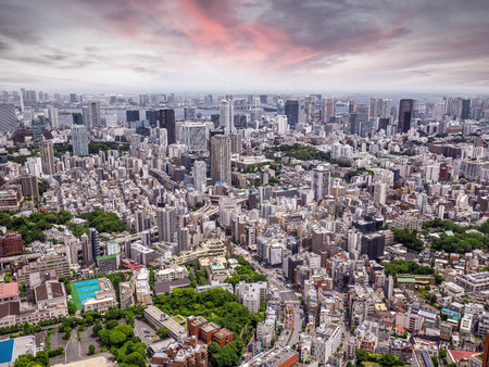Aerial view of Tokyo city sprawl, Japan Фото со стока