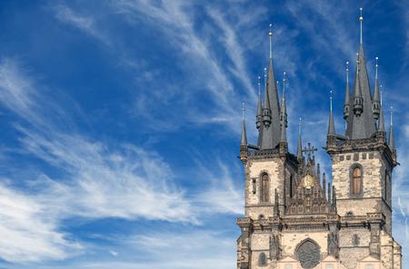 Spires of Tyn church with a blue sky Фото со стока