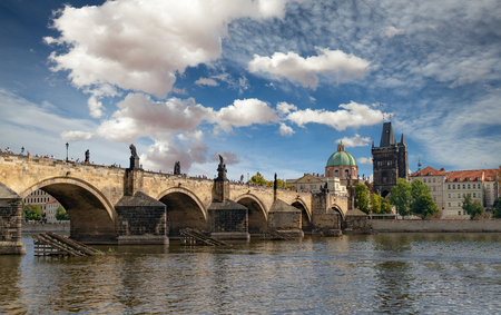 Charles bridge in Prague, view from the river