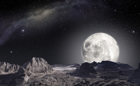 Moon viewed from the surface of an alien planet