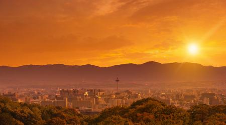Kyoto city skyline at sunset, view from Kiyomizu-dera temple, Kyoto, Japan Фото со стока