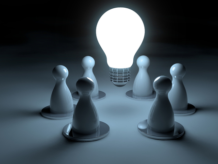 Glowing light bulb surrounded by chess pawns on dark