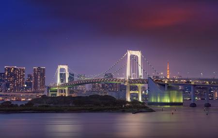 View of Rainbow bridge, Tokyo skyline and Tokyo tower, twilight scene